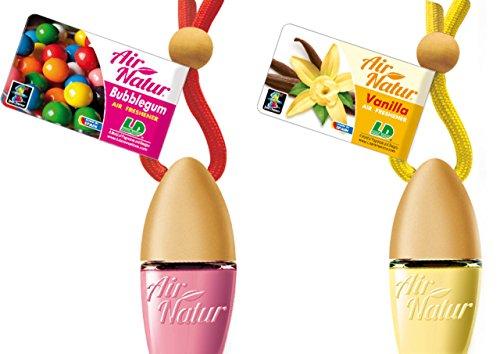 2 Stylisch-modische Air Natur Little Bottle Duftflakons Lufterfrischer Auto- und Raumduft 6ml - Duftsorte Bubble Gum - Kaugummi + Vanille