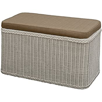 rattan w schekorb w schetruhe sitz gepolstert weiss flur bank aufbewahrungsbox mit deckel bad. Black Bedroom Furniture Sets. Home Design Ideas