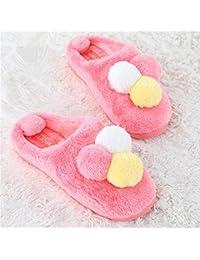 mhgao mujeres térmica de algodón zapatillas de casa Casual de imitación de cuero antideslizante en otoño y invierno thick-soled Zapatillas, 1, 37