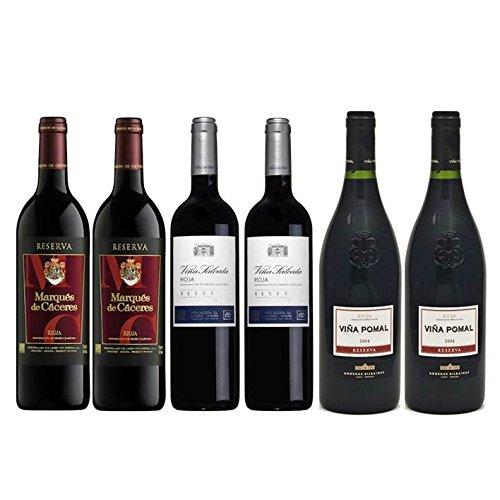 Pack Vino Rioja Clasicos Reserva 6 Botellas. 2 Viña Salceda Reserva, 2 Marqués De Cáceres Reserva Y 2 Viña Pomal Reserva