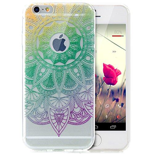 iPhone 6S Plus Hülle,iPhone 6 Plus Hülle,iPhone 6S Plus / 6 Plus Schutzhülle Case,ikasus® TPU Silikon Schutzhülle Case Hülle für iPhone 6S Plus / 6 Plus,Durchsichtig mit Indische Sonne Schmetterling B Farbverlauf Mandala Blumen #2