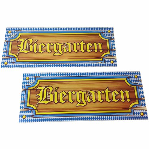 PARTY DISCOUNT NEU Schild Biergarten aus Papier, 50x20 cm