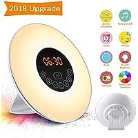 Wake Up Light Alarm Clock SOLMORE Electronic Digital Clock Bedside Lamp 6 Natural Sounds 7 Colors 10 Adjustable Brightness Night Light Best Gift for Kids Home Bedroom UK Plug (FM Radio)