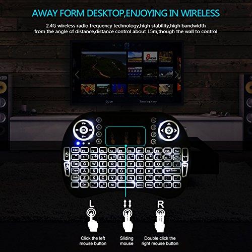 Mini drahtlose Tastatur, Wishpower 2,4Ghz mini wireless Keyboard LED Hintergrundbeleuchtung Ergonomische tastatur mit touchpad für tastatur Smart TV, Raspberry Pi 3, PC fernbedienung (weiß) - 5