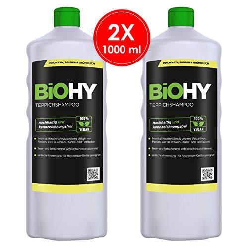 BIOHY Teppichshampoo Konzentrat 2 x 1 Liter Flaschen   Teppichreiniger ideal zur Entfernung von hartnäckigen Flecken   SPEZIELL FÜR WASCHSAUGER ENTWICKELT