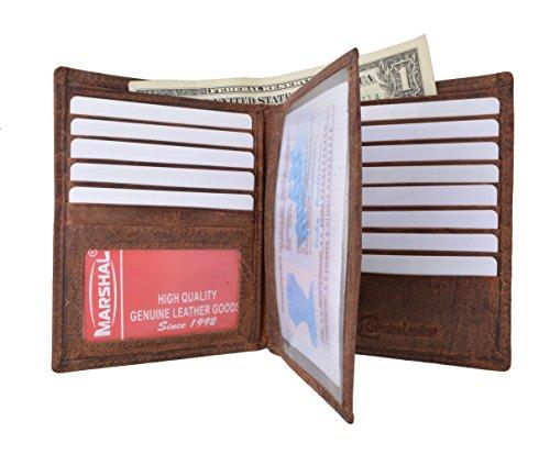 Marshal Bifold Geldbörse aus echtem Leder, RFID-Blockierung, Kartenfächer, 2 Geldfächer, Ausweisfenster, Geld, mehrfarbig - Einheitsgröße