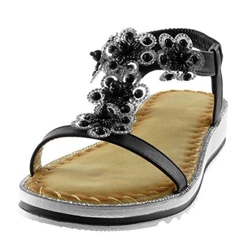 Angkorly Scarpe Moda Sandali Cinturino con Cinturino Alla Caviglia Slip-On Donna Strass Fiori Fantasia Tacco Zeppa 3 cm Nero