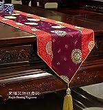 Lartum Tischläufer Lila Hitzebeständige Rechteckige Moderne Tischläufer Für Couchtisch Und Hochzeit Gestickten Chinesischen Zen Floral Design Mit Quaste, 150 * 35 cm