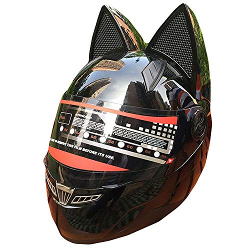 WWtoukui Black Cool Cat Ear Motorcycle Helm, Fashion Front Lens Locomotive Electric Car ATV Kart Scooter Balance Car Full Helmet, DOT Certified Helmet,M:53~55cm