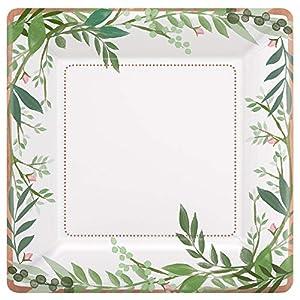 Amscan International 592143 - Vajilla de papel y plástico (25 cm), diseño de amor y hojas