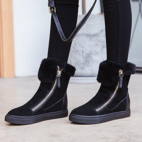 Gshga Femelle Bottes De Neige Nouvelle Fermeture Éclair Douce À L'intérieur Augmentant Bottes Chaud Chaussures Noir