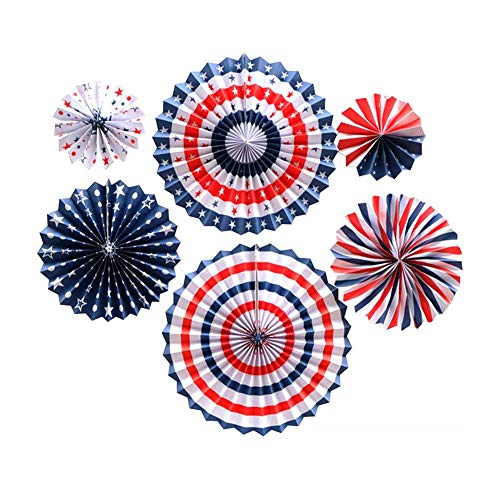 Patriotische Dekoration American Independence Day Dekoration Set enthält 6PC Papier Fan 30PC Blau Rot Weiß Ballon 24 Sterne Band Party Dekoration Band Wandbehang Set