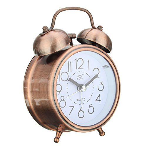 Classic Retro Copper Silent Non Ticking Quartz Twin Bell Alarm Clock with Night Light