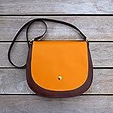 Schultertasche Handtasche Tasche crossbody Satteltasche Damen braun mango orange gold retro Geschenk Weihnachten, von wagnerstrasse