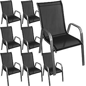 8 st ck stapelstuhl gartenstuhl stapelsessel gartensessel stapelbar stahlgestell. Black Bedroom Furniture Sets. Home Design Ideas