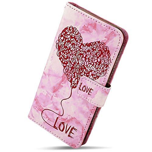 Kompatibel mit Handy Hülle Huawei Honor 6C Lederhülle Bunt Luxus Marmor Liebe Herz Muster Flip Case Ledertasche Bookstyle Ultra Dünn Klappbar Handytasche Handy Schutzhülle,Rot
