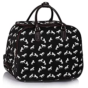 Travel Luggage Bag Wheeled Holdall Trolley Large Horse Print Women Canvas Men