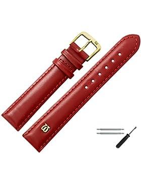 Uhrenarmband 20 MM Leder Glatt Rot Mit Naht, Bombage - Inkl. Federstege / Werkzeug - Leichte Polsterung, Glatte...