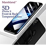Iphone X Tempered Glass Screen Protector 5D Front And Back High Quality Premium Edge To Edge Screen Protection 9H Hardness Anti Scratch Anti-Glare Crystal Clear Bubble-Free Shatter Proof & Oil Stains Coating Iphone X Tempered Glass Front And Back By M