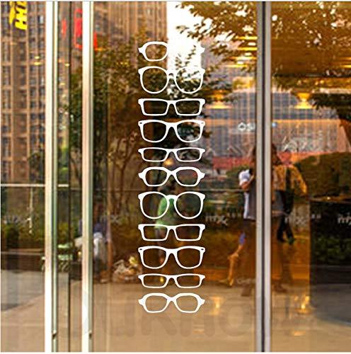 AZLIXLH Brille Hipster Streifen Vinyl Wandaufkleber Optische Shop Tür Fenster Glas Kunst Dekor Abziehbilder, Brillenfassungen Abnehmbare Vinyl Aufkleber 88 cm x 23 cm