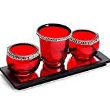Aapno Rajasthan Red Glass Tea Light Holder For Home Décor