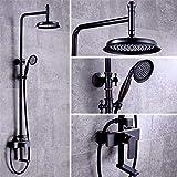 Cxmm Duscharmaturen, Retro-Kupferdusche, Schwarze Bronze, heißer und kalter Duschkopf, Spritzpistole, Duschbrause, C