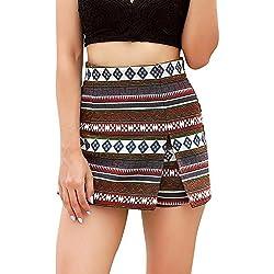 92641e8fad Longra Verano y otoño Mujeres Boho impresión Beach Ladies Summer Pantalones  Pantalones Pantalones Cortos Falda