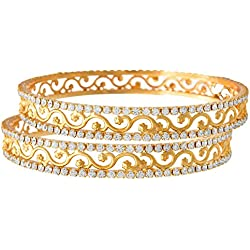 JFL - White Austrian Diamond One Gram Gold Plated Designer Bangle Set for Girls and Women.