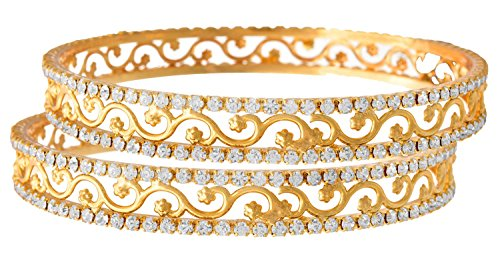 Jfl - Jewellery For Less White Austrian Diamond One Gram Gold Plated Designer Bangle Set For Women