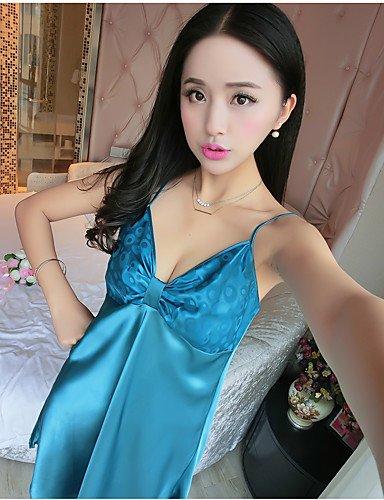 JXILY HJL Damen Dessous Nachtwäsche,DruckPolyester Mittelmäßig Damen, royal Blue, XL (Blue Lingerie Royal Sexy)