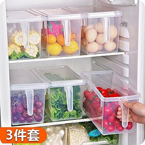 Home und Verschiedenes mit Griff Obst frisch Gefrierschrank Food storage Box Set 3-teiliges Set aus rechteckigen Kunststoffbehälter und frisch halten.
