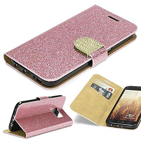 URCOVER Coque Portefeuille Housse Pochette Glittery Diamant pour Samsung Galaxy S7   Wallet Case Étui a Rabat avec Strass Scintillantes et Pailletté en Rose