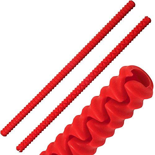 igadgitz Home U6785 Silikon Backofenrost Hitzebeständige Schutz BPA-frei Ofenrost Hitzeschutzleisten vor Verbrennungen und Verletzungen - Rot, 2 Stk