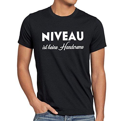 style3 Niveau ist Keine Handcreme Herren T-Shirt Creme Funshirt Spruch, Farbe:Schwarz, Größe:5XL
