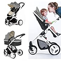 Allis® Baby Pram Pushchair Buggy Stroller Carry Cot Travel 2in1 Grey