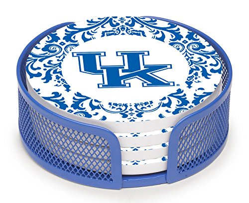 Thirstystone vuky3-ha27Steingut Drink Untersetzer-Set mit Halterung, University of Kentucky Muster Kentucky Coaster