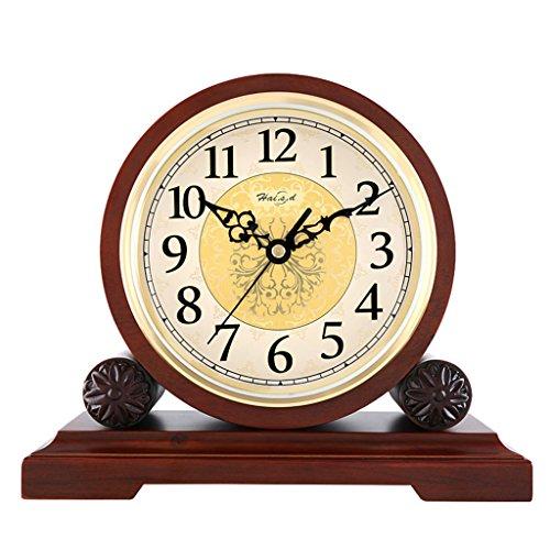 Unbekannt Stille Tischuhr Kaminsims Uhr Wohnzimmer Schlafzimmer American Retro Massivholz Uhr Quarzuhr Ornamente -Max Home (Farbe : Not Reporting Time, Größe : 26X22cm) (Glas Ornament Schwere)