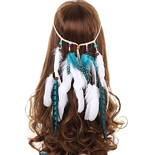 Kostüm Beliebtesten Frauen - AWAYTR Feder Stirnband Traum Fänger Hohl - Hippie Boho Pfau Fasan Gefieder Perlen Einstellbar Kopfschmuck (Blau + Weiß)