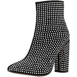 Baohooya Botines para Mujer - Botines para Adulto Botas de Tacón Grueso con Tachuelas Zapatos Otoño/Invierno 2019 Botas de Mujer Altas (40 EU, Negro)