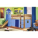 Cama alta de niños cama de juego con tobogán pino maciza natural/barnizado - Azul claro - SHB/30/1033
