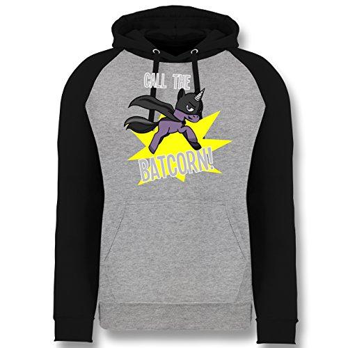 Shirtracer Einhörner - Call The Batcorn - XL - Grau meliert/Schwarz - JH009 - Baseball Hoodie