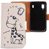 Lankashi PU Flip Leder Tasche Hülle Case Cover Schutz Handy Etui Skin Für Medion Life P4310 / ZTE Skate v960 Base Lutea 2 Giraffe Design