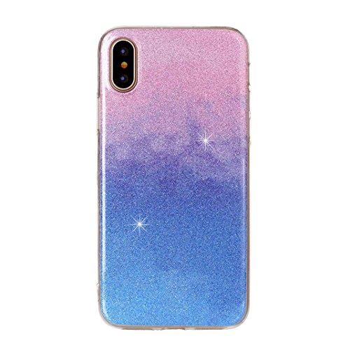 afc2e0b0222b2b Rosa Schleife iPhone X Glitzer Hülle Ultra Dünn Weiche Silikon TPU Backcover  Bling Schale Rosa Blau ...