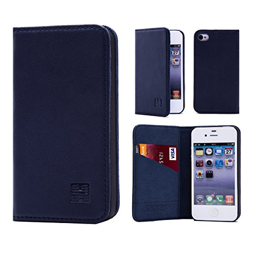 32nd Portafoglio Disegno Classic Custodia Premium Pelle per Apple iPhone 4 4S, Flip Case con Chiusura Magnetica e Funzione Stand - Blu navy Portafoglio Classico - Blu navy