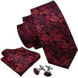 Barry.Wang - Juego de corbatas y gemelos cuadrados de bolsillo para hombre, de seda, diseño de cachemira Rojo Negro Rojo Talla única