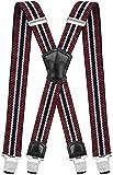 Decalen Hosenträger für Herren Breit 4 cm mit sehr Starken 4 Metall Clip Lang Einheitsgröße für Männer und Damen Einstellbar und Elastisch X Style (Maroon Beige Marineblau)