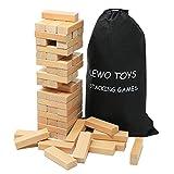Lewo De madera Juego de apilamiento De lujo edificio Bloques 54 piezas con Bolsa de almacenamiento