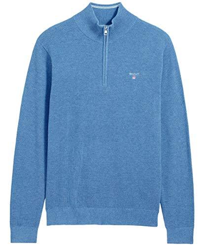 GANT Herren Pique Baumwolle Half Zip Pullover XXL Blau (Zip Pique Half)