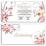 (30 x) Hochzeitseinladungskarten Blumen Rosa Pink edel Einladungskarten Hochzeit