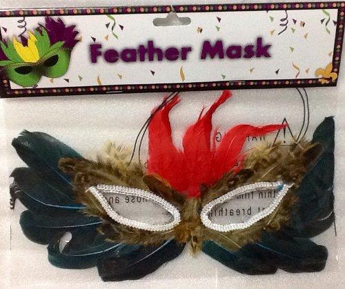 (Mardi Gras Feder Maske ~ Rot, Deep Türkis, gesprenkelten Braun)